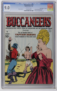 """Buccaneers #19 Davis Crippen (""""D"""" Copy) pedigree (Quality, 1950) CGC VF/NM 9.0 Off-white pages. First issue (f..."""