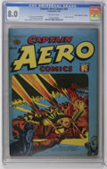 "Golden Age (1938-1955):War, Captain Aero Comics #25 Davis Crippen (""D"" Copy) pedigree (HolyokePublications, 1945) CGC VF 8.0 Off-white pages. Classic s..."
