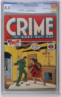 """Crime Does Not Pay #45 Davis Crippen (""""D"""" Copy) pedigree (Lev Gleason, 1946) CGC VF 8.0 Cream to off-white pag..."""