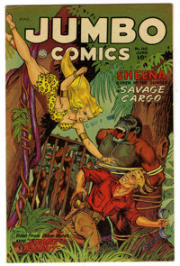 Jumbo Comics #160 Mile High pedigree (Fiction House, 1952) Condition: VF-. Last jungle cover. Water stain. Overstreet 20...