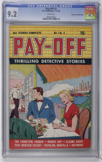 Pay-Off #3 Mile High pedigree (D.S. Publishing, 1948) CGC NM- 9.2 White pages. Overstreet 2006 NM- 9.2 value = $140. CGC...