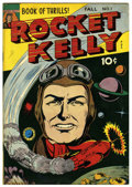 "Golden Age (1938-1955):Science Fiction, Rocket Kelly #1 Davis Crippen (""D"" Copy) pedigree (Fox FeaturesSyndicate, 1944) Condition: VF-. Some siamese pages. Overstr..."