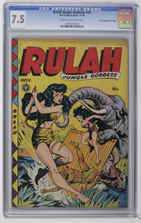 "Rulah Jungle Goddess #20 Davis Crippen (""D"" Copy) pedigree (Fox Features Syndicate, 1948) CGC VF- 7.5 Cream to..."