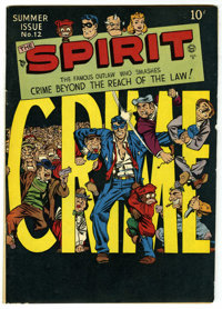 The Spirit #12 (Quality, 1948) Condition: FN+. Will Eisner cover. Overstreet 2006 FN 6.0 value = $108; VF 8.0 value = $2...