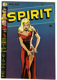 The Spirit #22 (Quality, 1950) Condition: VG+. Classic Will Eisner cover. Overstreet 2006 VG 4.0 value = $118. From the...
