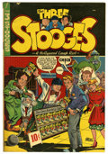 """Three Stooges #1 Davis Crippen (""""D"""" Copy) pedigree (Jubilee, 1949) Condition: VG+. Norm Maurer infinity cover..."""