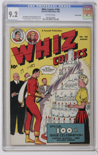 Whiz Comics #100 Crowley Copy pedigree (Fawcett, 1948) CGC NM- 9.2 Off-white pages. Anniversary issue. Kurt Schaffenberg...