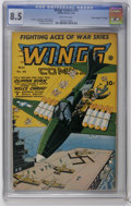 """Golden Age (1938-1955):War, Wings Comics #45 Davis Crippen (""""D"""" Copy) pedigree (Fiction House,1944) CGC VF+ 8.5 Off-white pages. Lee Elias and Lily Ren..."""