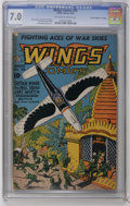 """Golden Age (1938-1955):War, Wings Comics #48 Davis Crippen (""""D"""" Copy) pedigree (Fiction House,1944) CGC FN/VF 7.0 Off-white to white pages. Bob Lubbers..."""