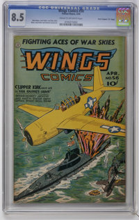 "Wings Comics #56 Davis Crippen (""D"" Copy) pedigree (Fiction House, 1945) CGC VF+ 8.5 Cream to off-white pages..."