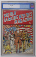 Golden Age (1938-1955):Non-Fiction, World Famous Heroes Magazine #1 (Centaur, 1941) CGC VF- 7.5 Creamto off-white pages. Patriotic flag cover by Paul Gustavson...