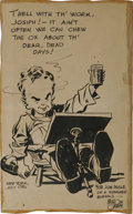 Original Comic Art:Illustrations, Milton Caniff - Self-Portrait Caricature illustration and Signed Hand Colored Print, Group of 3 (19-36-46). This group lot i... (Total: 3 Items)