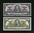 Canadian Currency: , BC-24b $10 1937, BC-25b $20 1937. ... (Total: 2 notes)