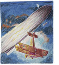 "Original Comic Art:Sketches, George Evans - Sopwith Camel vs. Zeppelin ""L"" Type Color Sketch Original Art (1991). This colored pencil sketch was used as ..."