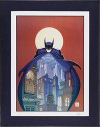 Bob Kane - Signed Batman Print #80/950 (undated). Bob Kane has signed his moody montage of the Darknight Detective in pe...