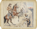 Illustration:Magazine, AMERICAN ILLUSTRATOR (20th Century) . Buffalo Bill on theTrail . Mixed-media on paper . 9 x 11-1/2in. . Not signed .Or...