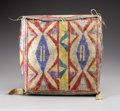 American Indian Art, A SIOUX PAINTED PARFLECHE CASE. . c. 1890. ...