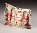 American Indian Art:Beadwork, A SIOUX MINIATURE QUILLED AND BEADED HIDE TIPI BAG. . c. 1890. ...