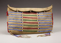 American Indian Art:Beadwork, A CROW BEADED BUFFALO HIDE TIPI BAG. . c. 1880. ...