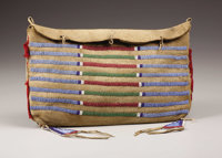 A CROW BEADED BUFFALO HIDE TIPI BAG c. 1880