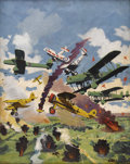 Illustration:Magazine, FREDERICK BLAKESLEE (American 1898 - 1973) . Wings of Fury,1936 . Oil on canvas . 26 x 20-1/2in. . Signed lower left . ...