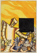 Illustration:Science Fiction, HANNES BOK (American 1914-1964) . The Robot God, circa 1941. Mixed-media on paper . 10 x 7in. . Signed lower right . Th...