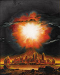 Illustration:Science Fiction, CHESLEY K. BONESTELL (American 1888 - 1986) . Destruction of NewYork City by a Hydrogen Bomb, 1952 . Oil on board . 20 ...