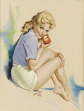 Illustration:Pin-Up, CHARLES (American 20th Century) . Untitled, circa 1960 .Mixed-media on board . 27 x 22in. . Signed lower center . Or...
