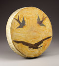 American Indian Art, A NORTHERN PLAINS PICTORIAL PAINTED HIDE DRUM. . c. 1910. ...