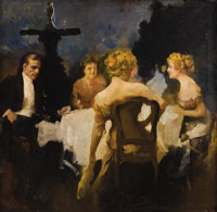HOWARD CHANDLER CHRISTY (American 1873 - 1952) Dinner in a Park, circa 1910 Oil on canvas 35-1/2 x 36-1/2in. Not