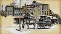 Illustration:Magazine, DEAN CORNWELL (American 1892-1960) . Street Scene, 1915 .Oil on board . Signed lower left . 13 x 22-1/2in....
