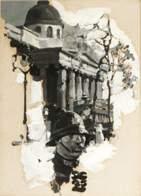 DEAN CORNWELL (American 1892 - 1960) Untitled, 1925 Oil on board 8-1/2 x 6in. Initialed and dated lower center, DC