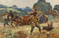 HARVEY DUNN (American 1884 - 1952) Neighbor Sam and the Lawman, 1942 Oil on canvas 26 x 40in. Signed indistinctl