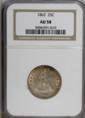 Seated Quarters: , 1862 25C AU58 NGC. NGC Census: (16/78). PCGS Population (22/105).Mintage: 932,000. Numismedia Wsl. Price for NGC/PCGS coin...
