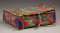 American Indian Art, A SIOUX PAINTED PARFLECHE CONTAINER. . c. 1880. ...