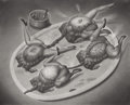 Fine Art - Painting, European:Contemporary   (1950 to present)  , YOSHIFUMI HAYASHI (Japanese). Le Diner des Enfants (TheChildren's Dinner), 1991. Graphite on paper. 15-1/2 x19-1/2in....
