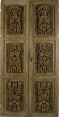 Paintings, A Pair of Carved Wooden Doors. . Unknown maker, possibly American. 19th century. Carved pine. Unmarked. Each door: 100 inche... (Total: 2 Items)