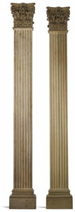 Miscellaneous, A PAIR OF WOODEN CORINTHIAN PILASTERS. Unknown maker. 19th century.Wood. 131.5 inches high x 17 inches wide x 5.5 inches de... (Total:2 Items)