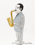 Illustration:Magazine, DAVID STONE MARTIN (American 1913 - 1992) . Johnny Hodges,1991 . Mixed-media on paper . 21 x 16-1/2in. . Signed lower r...