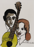 Illustration:Magazine, DAVID STONE MARTIN (American 1913 - 1992) . Les Paul and MaryFord, 1991 . Ink and watercolor on paper . 17 x 12-1/2in. ...