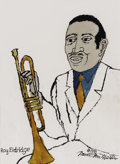 Illustration:Magazine, DAVID STONE MARTIN (American 1913 - 1992) . Roy Eldridge, 1991 . Ink and watercolor on paper . 17 x 12in. . Signed lower...