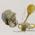 Illustration:Books, DAVID STONE MARTIN (American 1913 - 1992) . Dizzy Gillespie,1991 . Ink and watercolor on paper . 16 x 16in. . Signed lo...
