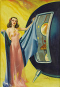 Illustration:Science Fiction, HAROLD W. MCCAULEY (American 1913 - 1977) . Meet Me InTomorrow,1950 . Oil on canvas . 31 x 22in. . Signed lower right...