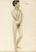 Illustration:Books, MAXFIELD PARRISH (American 1870 - 1966) . Male nude, circa 1895 . Charcoal on paper . 25 x 19in. . Signed upper right. ...