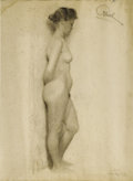 Illustration:Books, MAXFIELD PARRISH (American 1870 - 1966) . Female nude, circa1892 - 1894 . Charcoal on paper . 25 x 19in. . Signed upper...
