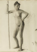 Illustration:Books, MAXFIELD PARRISH (American 1870 - 1966) . Female figure .Charcoal on paper . 22 x 17in. . Unsigned. ...