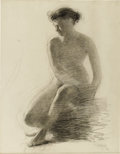 Illustration:Books, MAXFIELD PARRISH (American 1870 - 1966) . Female Figure.Charcoal on paper . 24 x 17in. . Unsigned. ...