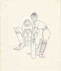 Illustration:Books, MAXFIELD PARRISH (American 1870 - 1966) . Cricket Players . Ink and graphite on paper . 7-1/2 x 6-1/2in. . Unsigned. ...