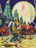 Illustration:Science Fiction, FRANK R. PAUL (American 1884 - 1963) . Life on Europa, 1940. Mixed-media on board . 22 x 17in. . Signed lower left ....