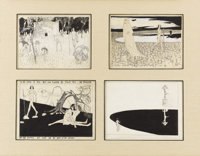WILLY POGANY (American 1882 - 1955) Group of Four Illustrations Ink on paper Overall matted size of group: 21 x 27